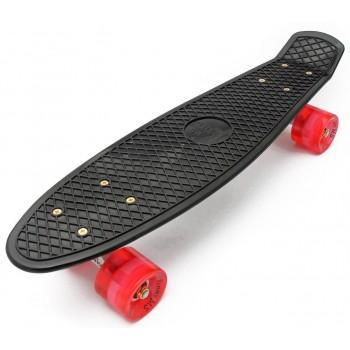"""Пенни борд Zippy Board 22"""" LED - PRO черный с красными колесами"""